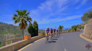 Cyclists in Deia