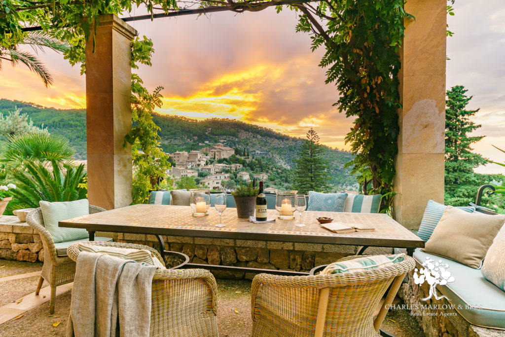 Sunset view from Sa Tanca luxury rental villa, Deia, Mallorca, for rent with Charles Marlow